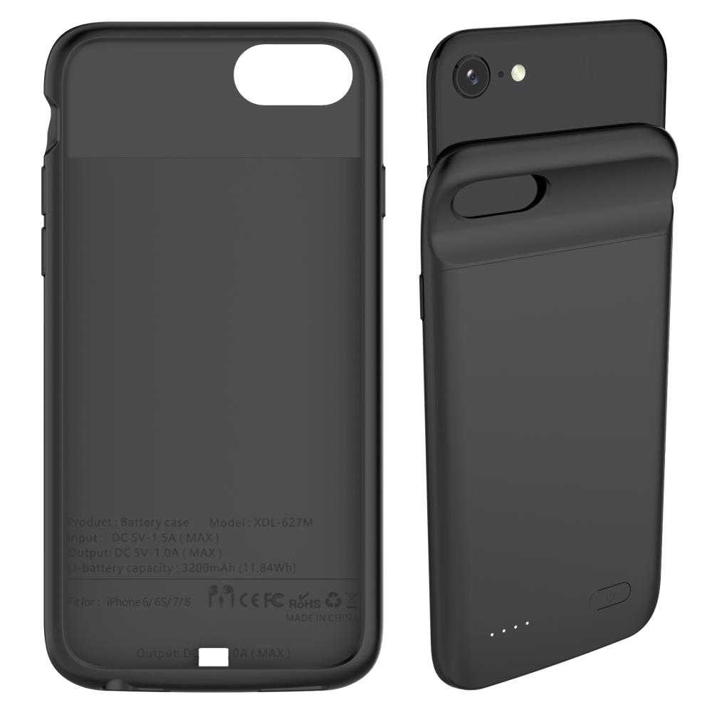 Чехол аккумулятор для iPhone 6/6s/7/8 3200 mAh black