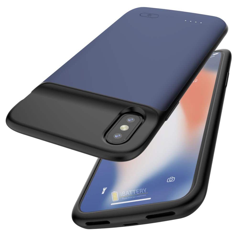 Чехол аккумулятор для iPhone X/XS 4100 mAh blue