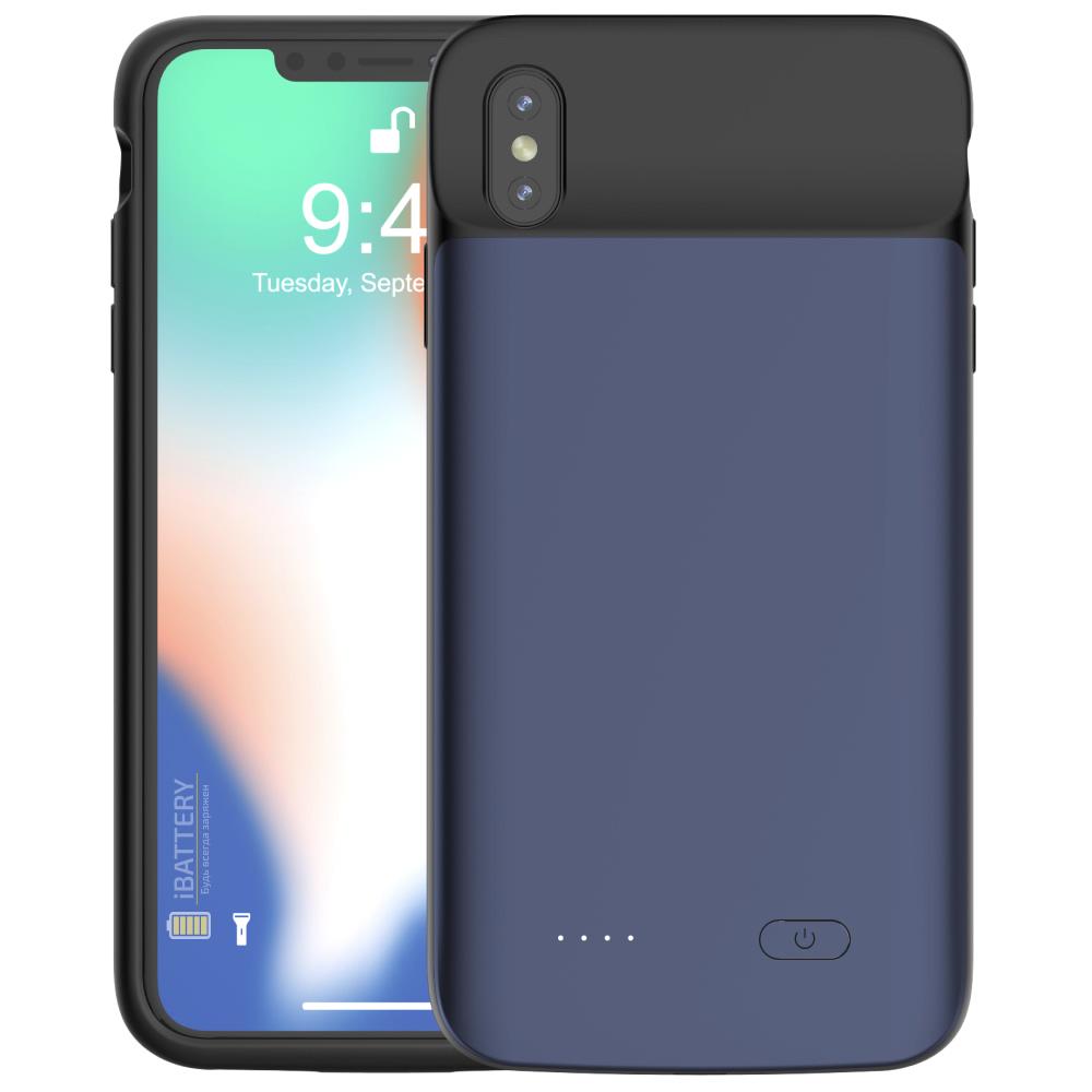 Чехол зарядка для iPhone XS Max 5000 mAh blue iBattery