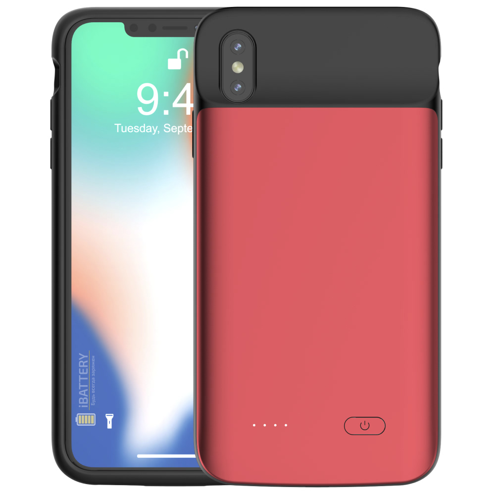 Чехол зарядка для iPhone XS Max 5000 mAh red iBattery