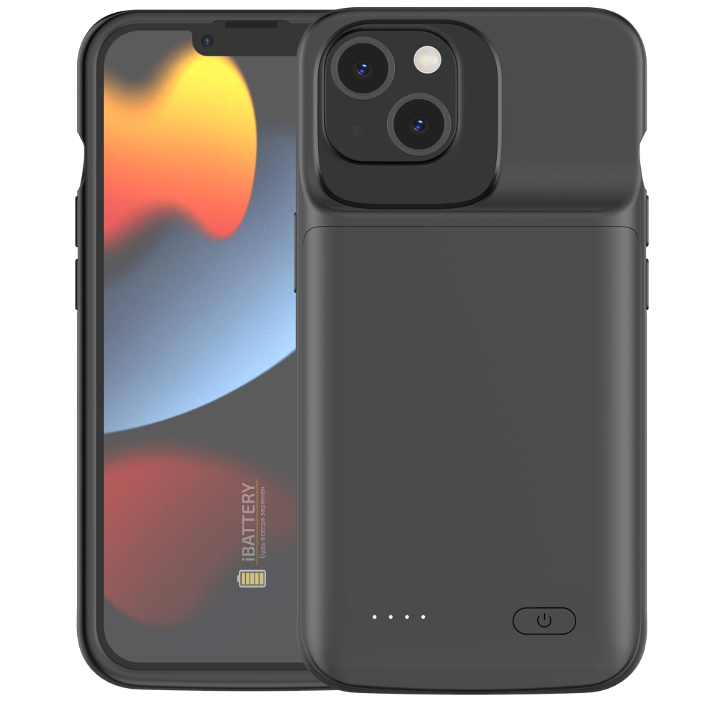 Чехол аккумулятор для iPhone 13 4800 mAh black