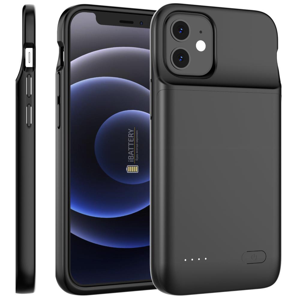 Чехол аккумулятор для iPhone 12 4800 mAh black