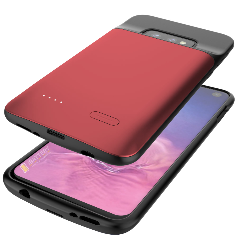 Чехол зарядка для Samsung S10e 4700 mAh red iBattery