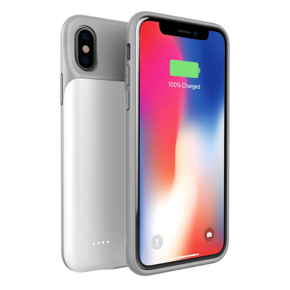 Чехол зарядка для iPhone Xs Max 4000 mAh white iBattery
