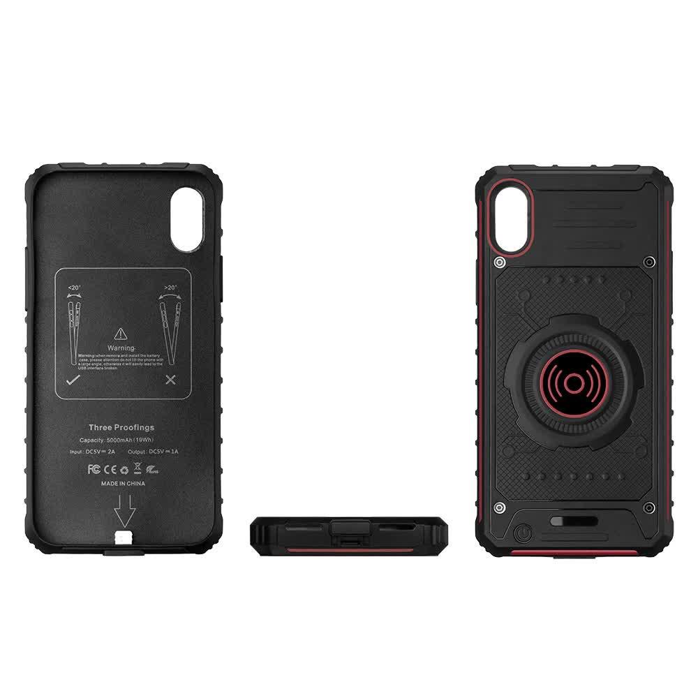 Чехол батарея для iPhone X/XS 5000 mAh red с беспроводной зарядкой