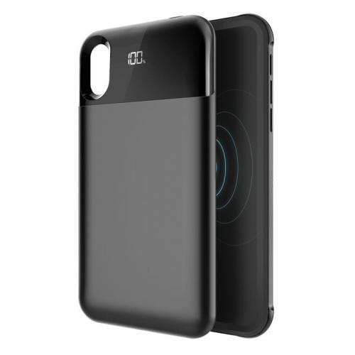 Чехол аккумулятор для iPhone XS Max 5500 mAh black: магнитный