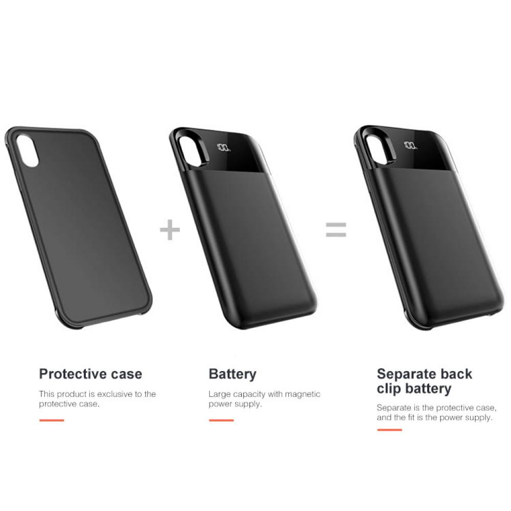 Чехол аккумулятор для iPhone X/XS 5000 mAh red: магнитный