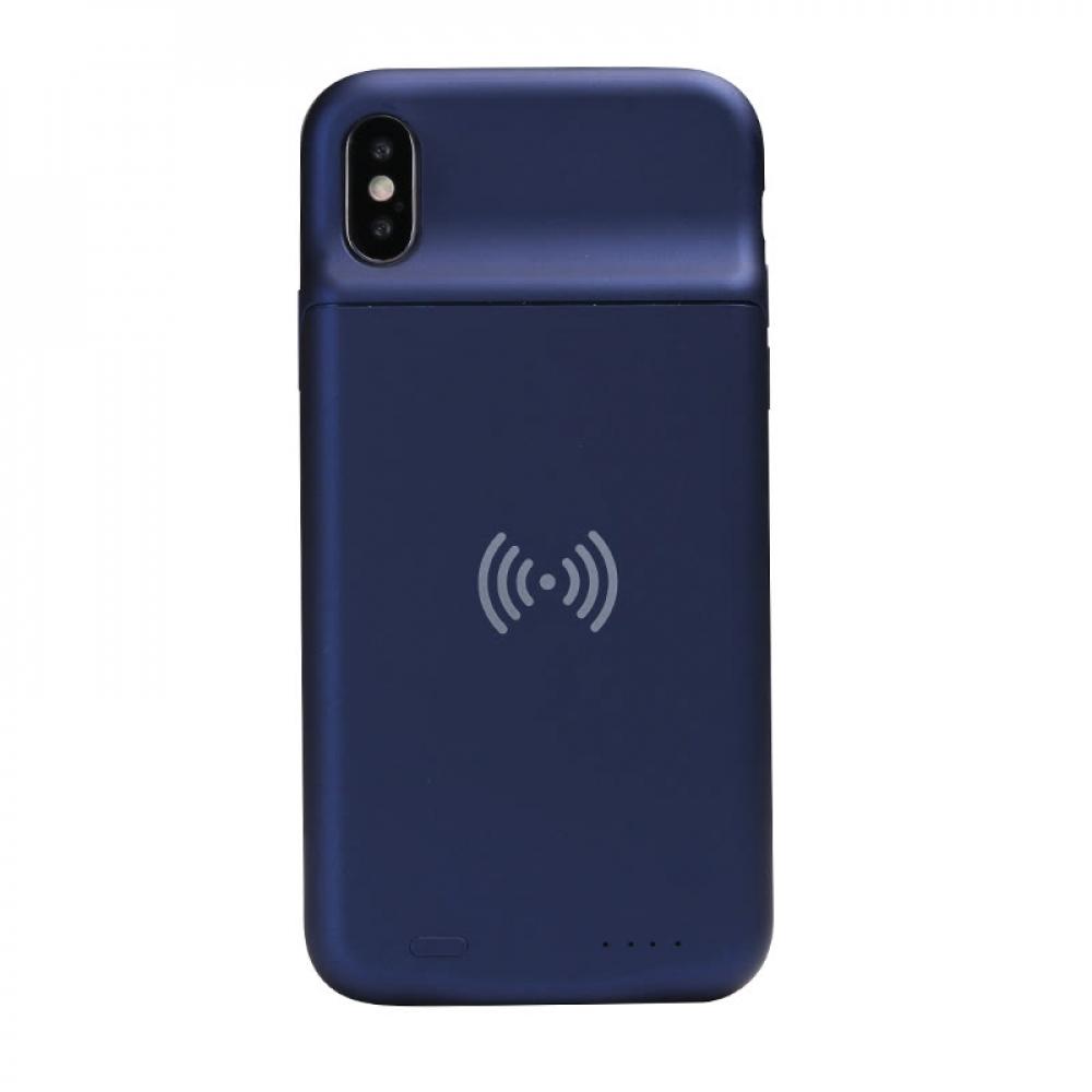 Чехол батарея для iPhone X/XS 3600 mAh blue с беспроводной зарядкой