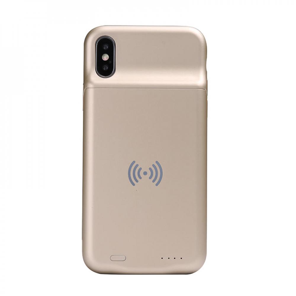 Чехол батарея для iPhone X/XS 3600 mAh gold с беспроводной зарядкой