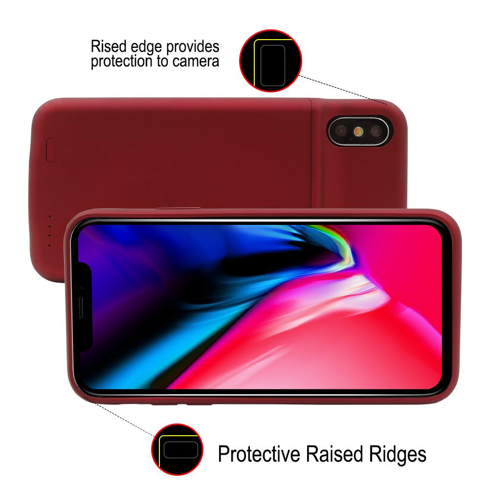 Чехол батарея для iPhone X/XS 3600 mAh red с беспроводной зарядкой