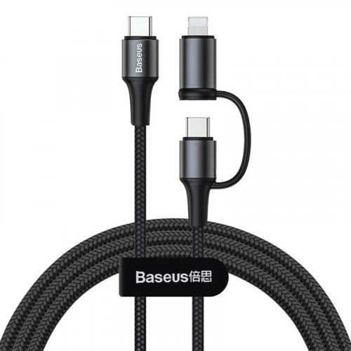 Cable Baseus Twins 2in1 Type-C to Type-C(60W)/Lightning(18W) (CATLYW-H01) Black 1m