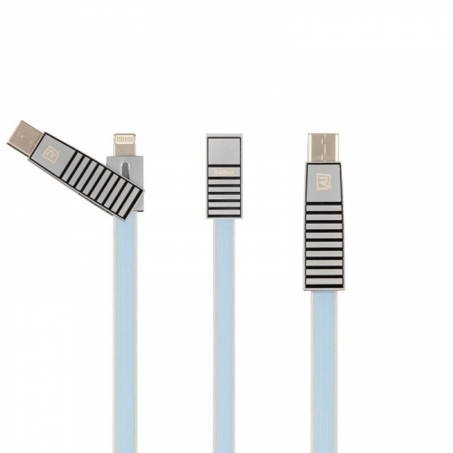 USB Cable Remax (OR) Linyo RC-072th 3in1 (Lightning/MicroUSB/Type-C) Blue 1m