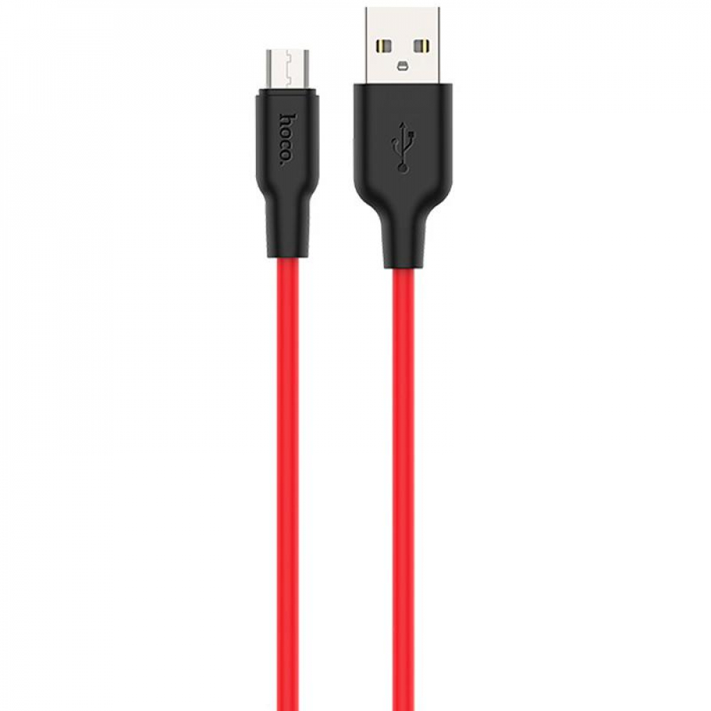 USB Cable Hoco X21 Silicone MicroUSB Black/Red 1m