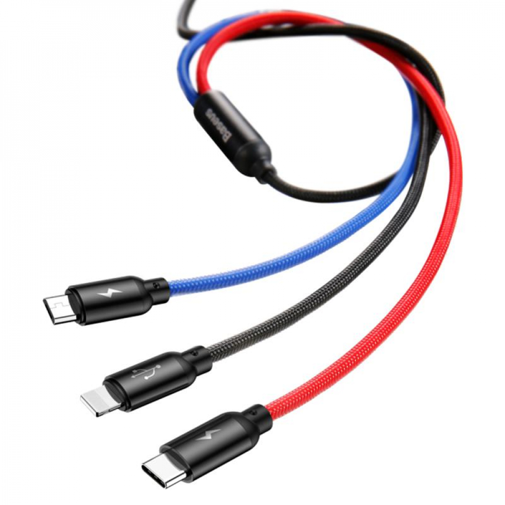 USB Cable Baseus Three Primary Colors 3-in-1 (CAMLT-ASY01) (MicroUSB/Lightning/Type-C) Black 0.3m