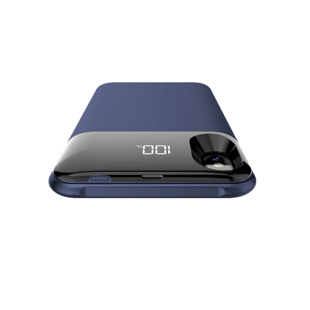 Чехол аккумулятор для iPhone X/XS 5000 mAh blue: магнитный
