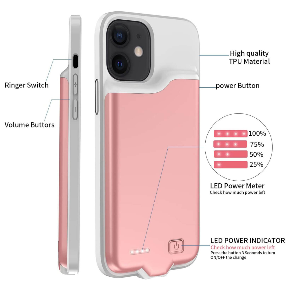 Чехол powerbank для iPhone 12 Pro 4000 mAh pink iBattery