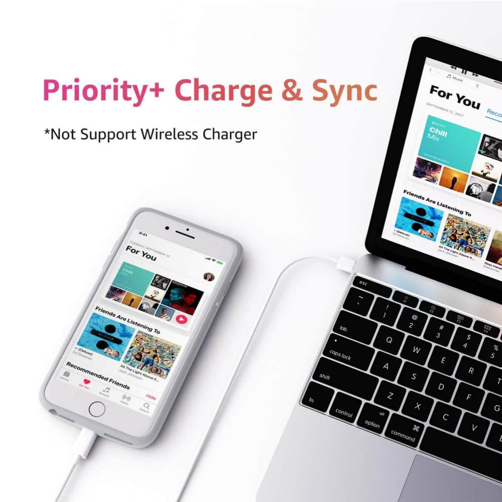 Battery case для iPhone 6/6s/7/8 Plus 6500 mAh rose