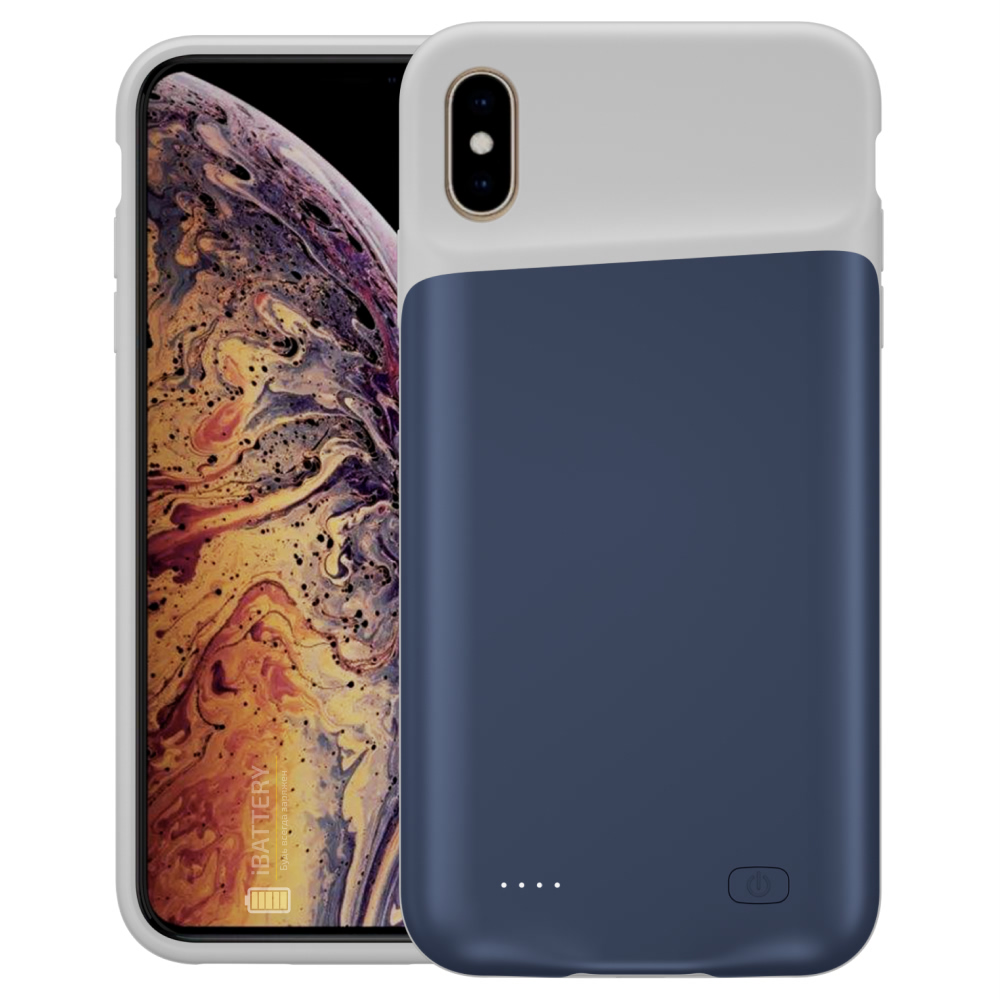 Чехол powerbank для iPhone Xs Max 6000 mAh blue iBattery