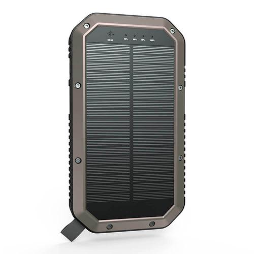 PowerBank с солнечной зарядкой Qi и фонариком 20000 mAh коричневый