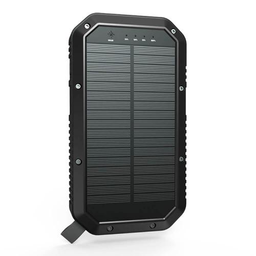 PowerBank с солнечной зарядкой Qi и фонариком 20000 mAh black