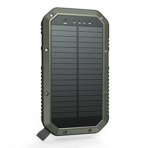 PowerBank с солнечной зарядкой Qi и фонариком 20000 mAh темно-зеленый