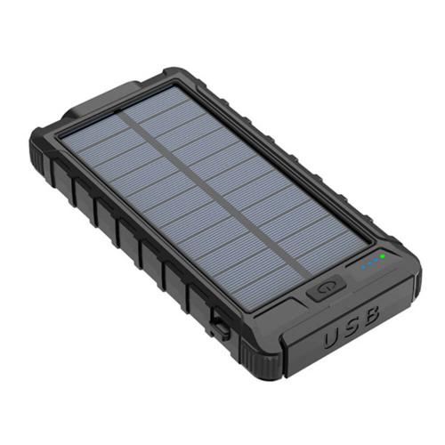 PowerBank с солнечной зарядкой Qi и фонариком 10000 mAh черный