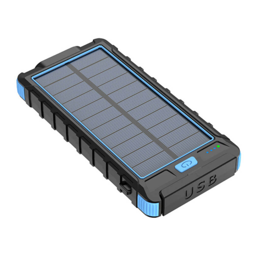 PowerBank с солнечной зарядкой Qi и фонариком 10000 mAh синий