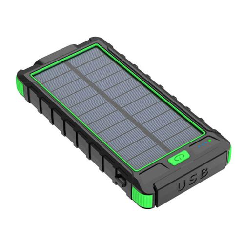 PowerBank с солнечной зарядкой Qi и фонариком 10000 mAh зеленый