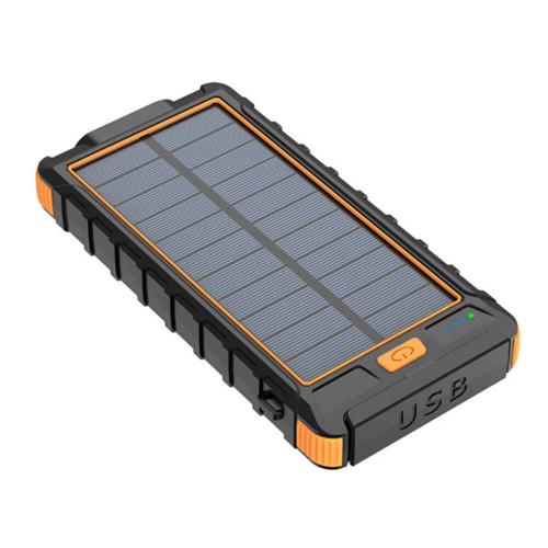 PowerBank с солнечной зарядкой Qi и фонариком 10000 mAh оранжевый