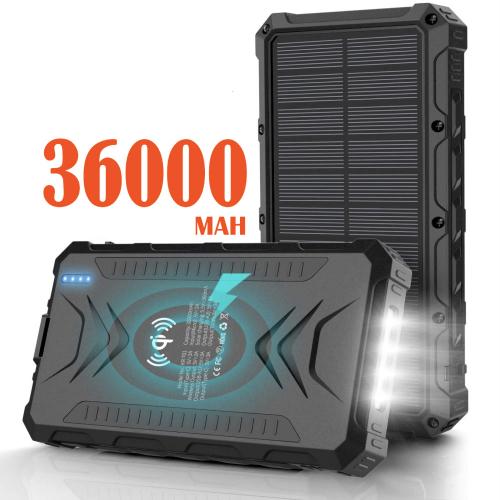 Павер банк на солнечной батарее Qi и фонариком 36000 mAh black