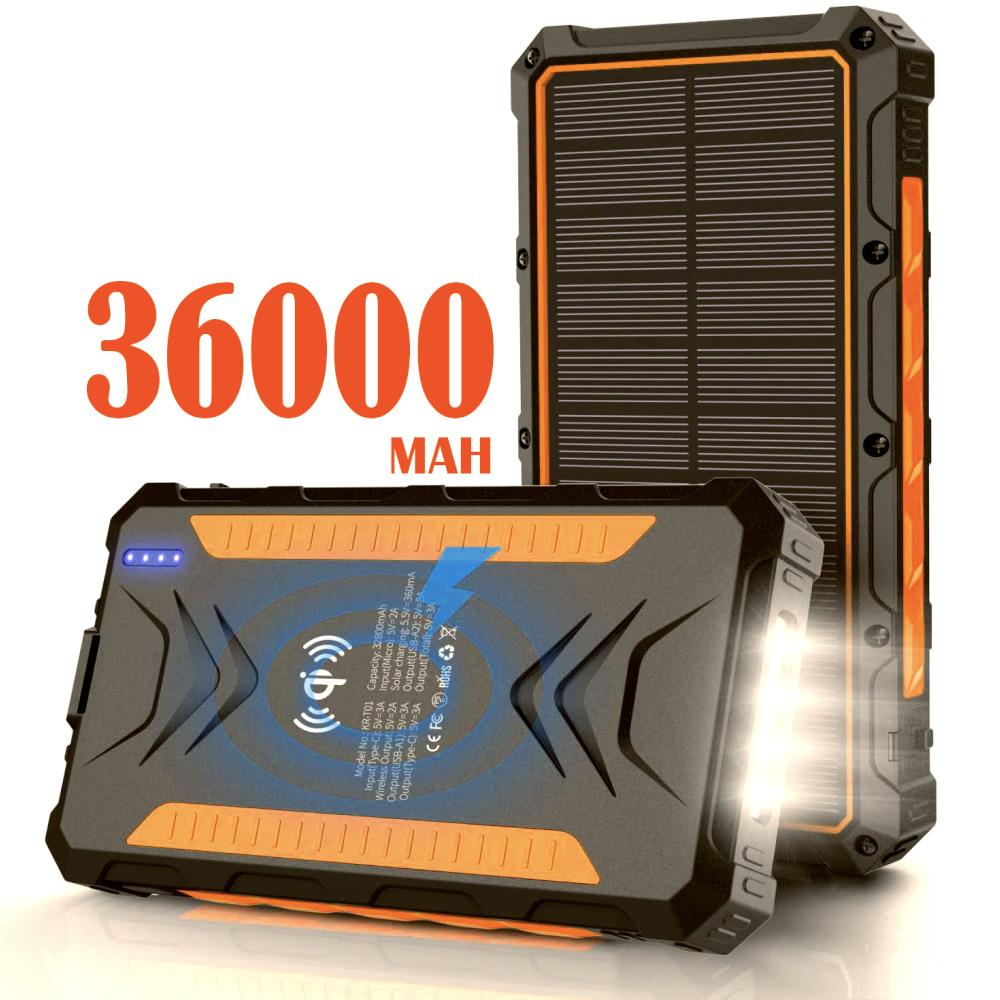 Павер банк на солнечной батарее Qi и фонариком 36000 mAh orange