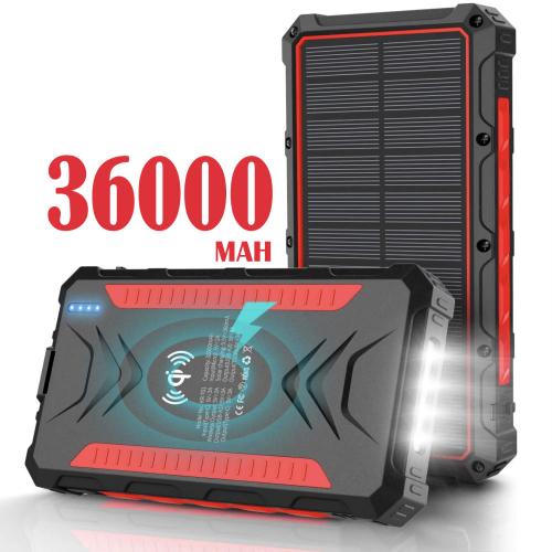 Павер банк на солнечной батарее Qi и фонариком 36000 mAh red