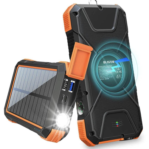 PowerBank на солнечной батарее Qi и фонариком 20000 mAh orange