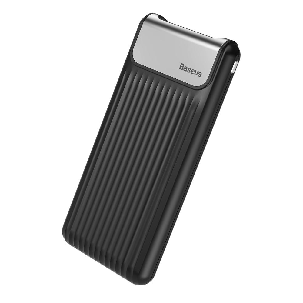 Дополнительная батарея Baseus Thin QC3.0 M+T Dual input Digital LCD (10000mAh) Black (PPYZ-C01)