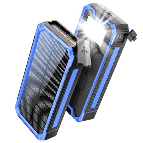 Солнечный повербанк с фонариком 30000 mAh YD- 888K черно-синий