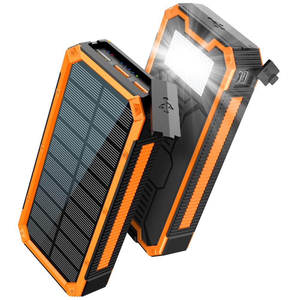 Солнечный повербанк с фонариком 30000 mAh YD- 888K черно-оранжевый