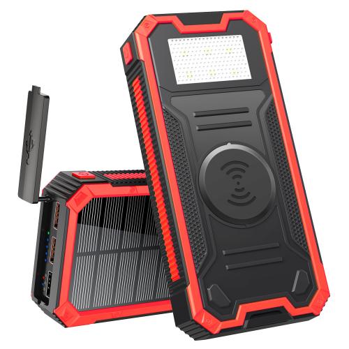 Солнечный повербанк Qi и фонариком 30000 mAh YD- 888KW черно-красный
