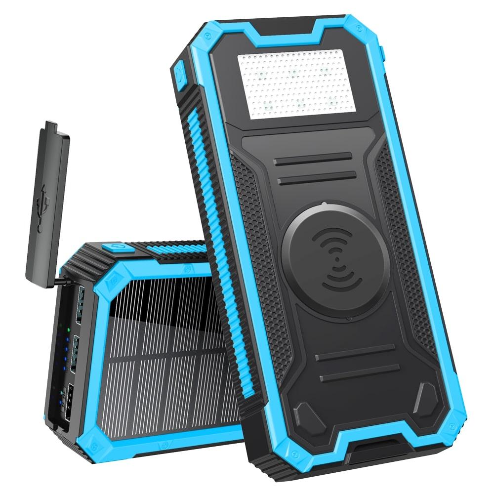 Солнечный повербанк Qi и фонариком 30000 mAh YD- 888KW черно-синий