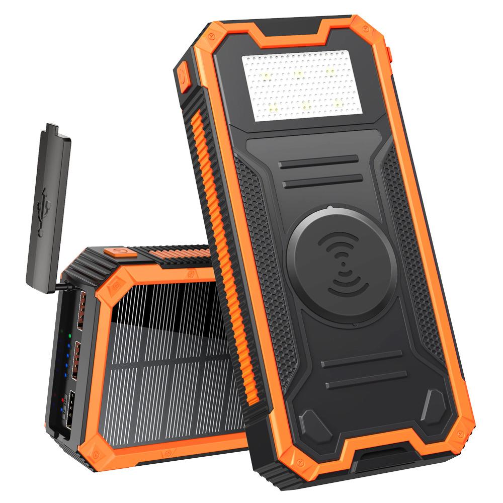 Солнечный повербанк Qi и фонариком 30000 mAh YD- 888KW черно-оранжевый